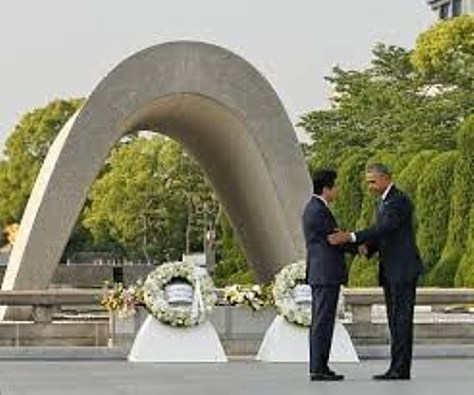 President Obama with President Abe of Japan at the Peace Memorial, Hiroshima (White House pool)