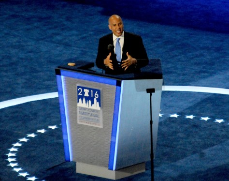 """Cory Booker to DNC July 25: '""""We are an even greater nation, not because we started perfect, but because every generation has successfully labored to make us a more perfect union."""" © 2016 Karen Rubin/news-photos-features.com"""