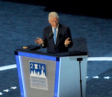 """President Bill Clinton, performing the odd, never-been-done before  role of """"spouse"""" introducing his wife and former First Lady as candidate for president, delivered a touching, personal speech recalling their relationship together and extolling Hillary Clinton's significant career accomplishments as a """"change maker."""" © 2016 Karen Rubin/news-photos-features.com"""
