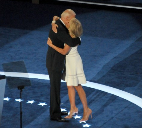 Vice President Joe Biden embraces his wife, Dr. Jill Biden, after addressing Democratic National Convention, Philadelphia, July 27, 2016