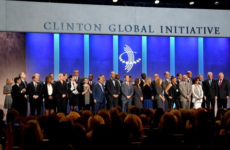 President Bill Clinton, at the 12th and final Clinton Global Initiative, acknowledges the partners who have made commitments on behalf of Haiti © 2016 Karen Rubin/news-photos-features.com