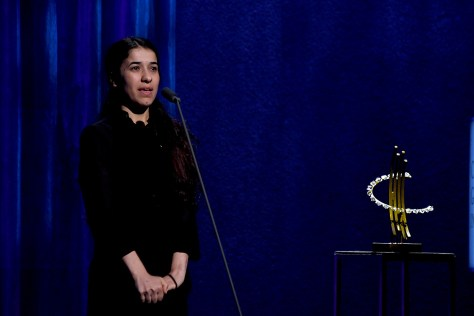 Nadia Murad, a survivor of ISIS terror, has dedicated herself to rescue the thousands of women and girls who have been trafficked in situations of conflict. Honored with a Clinton Global Citizen Award, she also has been named a UN Goodwill Ambassador. © 2016 Karen Rubin/news-photos-features.com