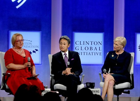 Katja Iversen, President and CEO, Women Deliver, moderates panel with Kazuo Hirai, CEO Sony Corporation, and Cecile Richards, President of Planned Parenthood © 2016 Karen Rubin/news-photos-features.com