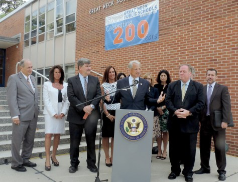 """Outgoing US Congressman Steve Israel with Great Neck (marking its 200th anniversary as a public school district) and Long Island educators, in front of Great Neck South Middle School, appeals for the Department of Education to change its rules regarding over-testing. The White House has just announced new steps to create """"better, fairer and fewer tests"""" © 2016 Karen Rubin/news-photos-features.com"""