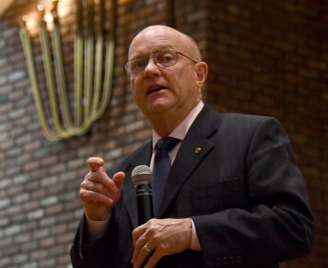 "Col. Lawrence Wilkerson, former chief of staff to Secretary of State Colin Powell and a member of the Climate Security Working Group, speaking on ""The Consequences of Climate Change: A National Security Perspective,"" says the planet cannot afford 4 or 8 years of reversals on climate action if we are to avoid topping 2 degrees more. By 2065, there will be a hundred million desperate climate refugees. © 2016 Karen Rubin/news-photos-features.com"