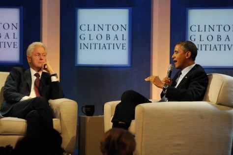 President Barack Obama with President Bill Clinton at 2013 Clinton Global Initiative, New York City, discussing health reform, Obamacare© 2017 Karen Rubin/news-photos-features.com