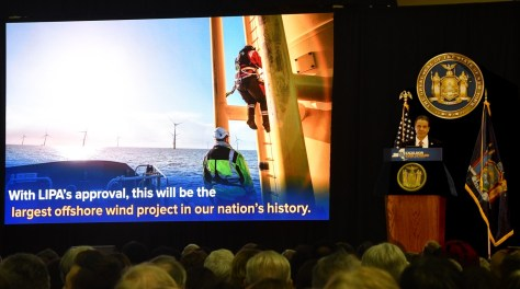 New York State Governor Andrew Cuomo in his State of the State address at SUNY Farmingdale, Long Island, declares his support to develop offshore windpower, beginning with 90 megawatts to serve the East End, and ultimately 2.4 gigawatts of offshore wind power in the Atlantic Ocean by 2030 © 2017 Karen Rubin/news-photos-features.com