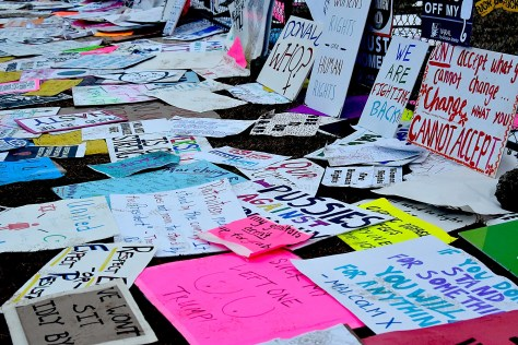 Just a smattering of the signs left by the 750,000 Women's Marchers, wanting to leave a message for Washington policy makers © 2017 Karen Rubin/news-photos-features.com
