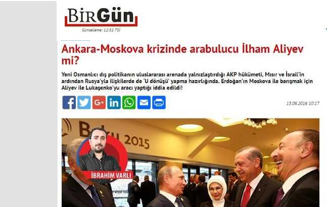 Ильхам Алиев — посредник в урегулировании кризиса в отношениях Анкары и Москвы?