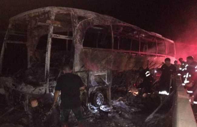 Автобус протаранил бетонную опору и сгорел