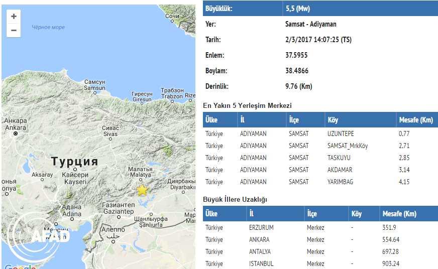 Адыяман потрясло землетрясение 5,5 баллов