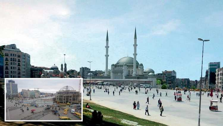 Строители возводят купол мечети Таксим