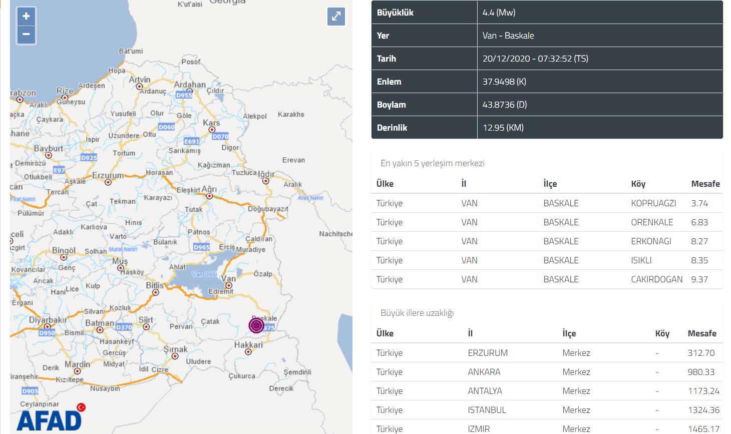 Землетрясения потрясли с утра Муглу и Ван