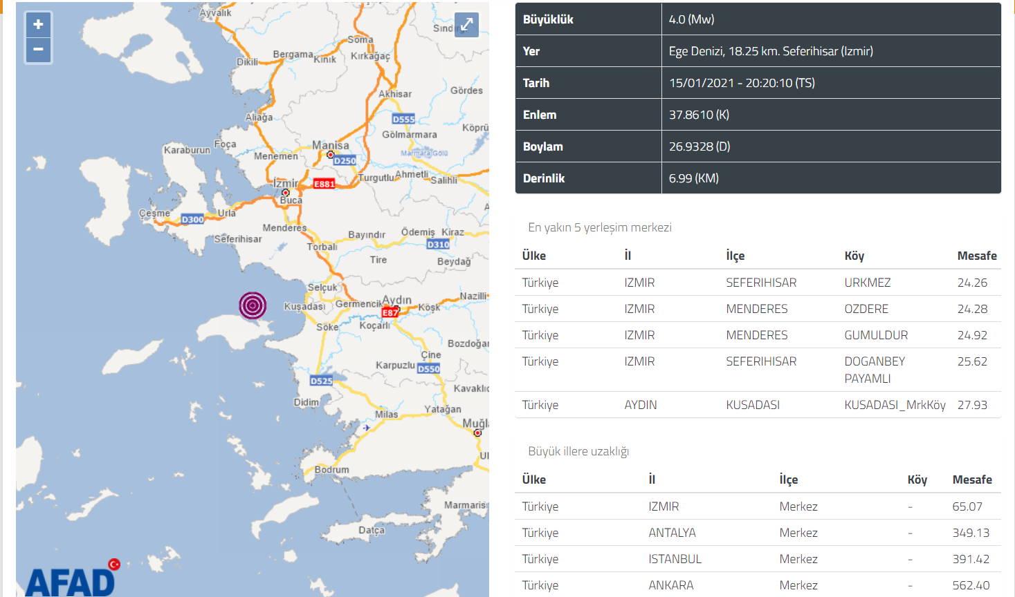 Землетрясение 4 балла потрясло Измир