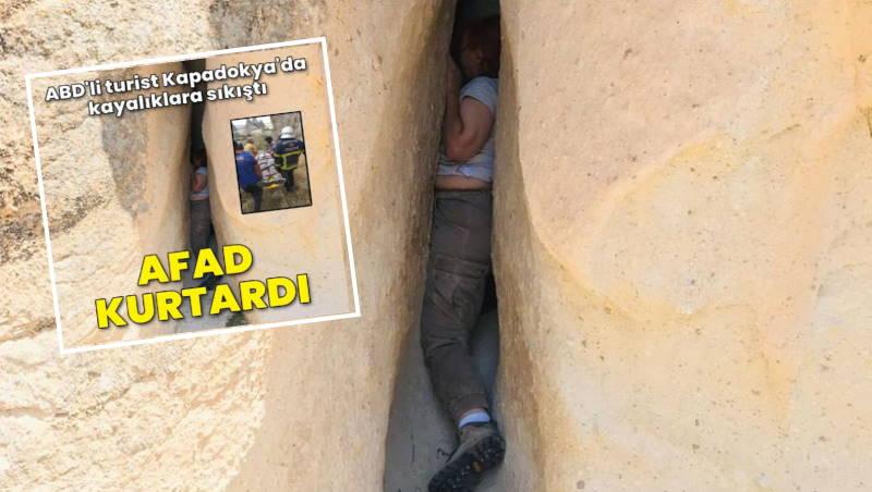 AFAD спас застрявшую в скалах Каппадокии туристку