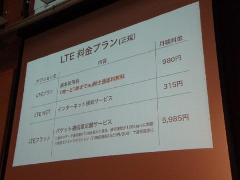 au LTE新料金プラン