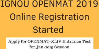 IGNOU OPENMAT 2019 Online Registration