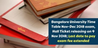 Bangalore University Time Table Nov Dec 2018 exam