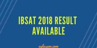 IBSAT 2018 Result Available