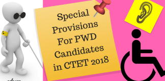 Special Provisions For PWD Candidates in CTET 2018