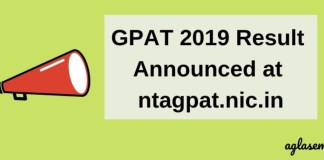 GPAT 2019 Result Announced on 06 Feb