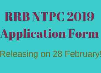 RRB NTPC Application Form 2019