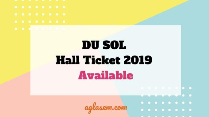 DU SOL Hall Ticket 2019 Available