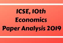 ICSE Economics Paper Analysis 2019