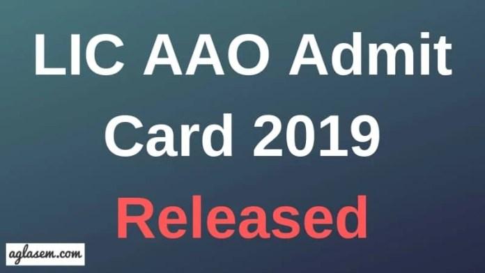 LIC AAO Admit Card 2019 Aglasem