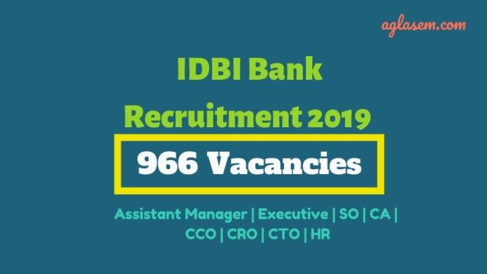 IDBI Bank Recruitment 2019 Starts for 966 Vacancies