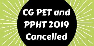 CG PET and PPHT 2019 Cancelled