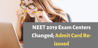 NEET 2019 Exam Centers Changed; Admit Card Re-issued