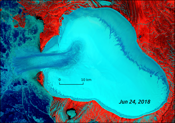Landsat 8 false-color composite of Vavilov Ice Cap on June 24, 2018. Authors of a new study suspect the images show the first observation of a transition from a glacial surge to a longer-lasting flow called an ice stream. AGU/Geophysical Research Letters/Whyjay Zheng.