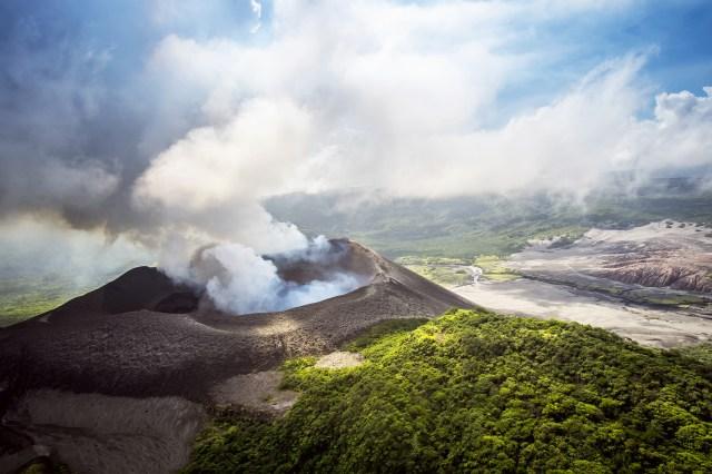 Aerial view of Yasure Volcano on Tanna Island, Vanuatu.