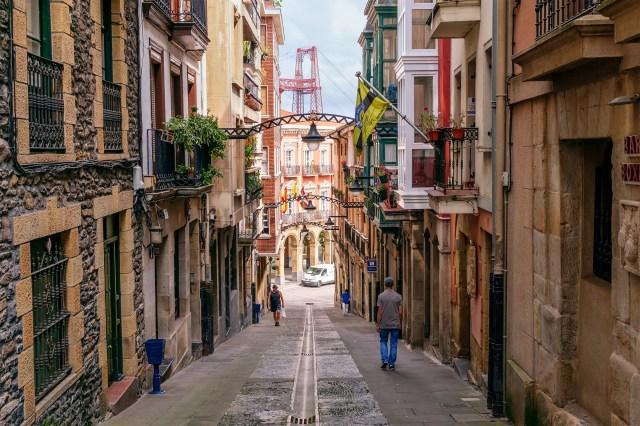 Street in Portugalete, Bilbao, Spain.