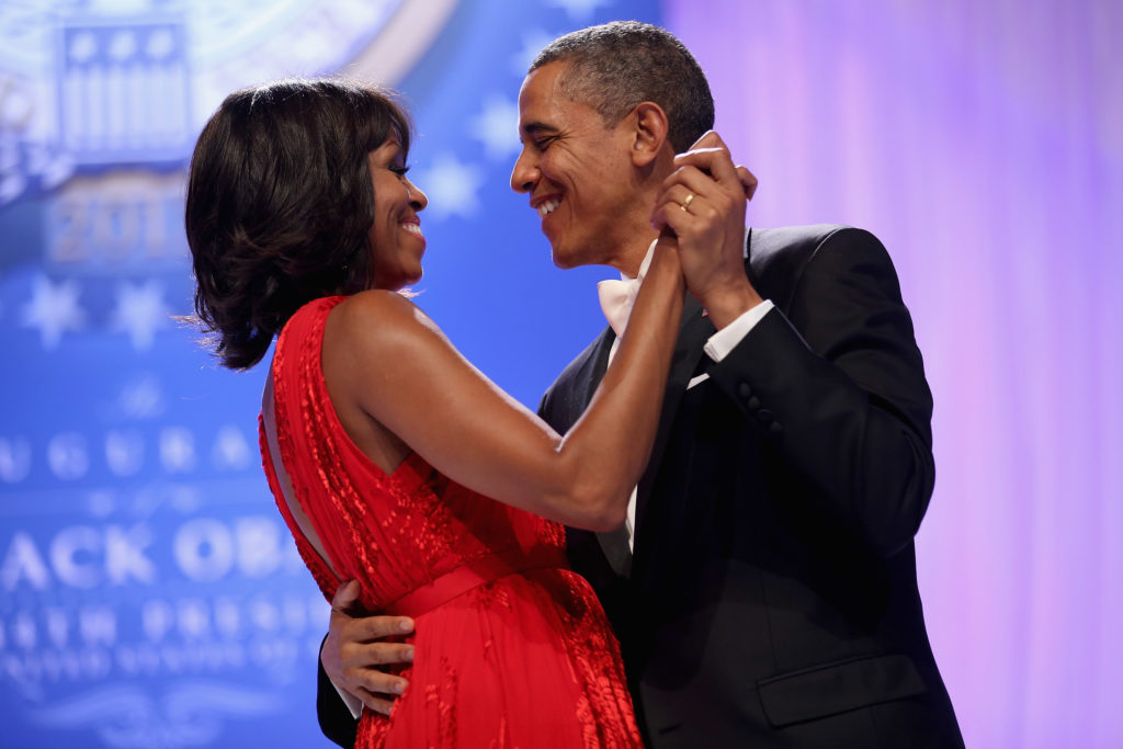 Former U.S. President Barack Obama and first lady Michelle Obama dance together at their second inaugural ball on January 21, 2013. (Photo by Chip Somodevilla/Getty Images)