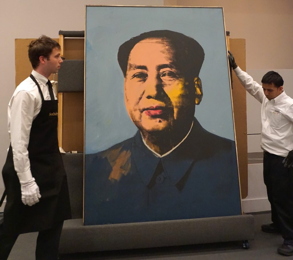 Andy Warhol's portrait of former Chinese leader Mao Zedong at Sotheby's in 2015. (Photo by Selcuk Acar/Anadolu Agency/Getty Images)