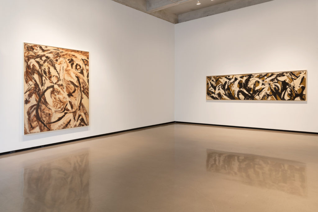 Lee Krasner, Fecundity (1960) and Moontide (1961), installation view. © 2017 The Pollock-Krasner Foundation/Artists Rights Society (ARS), New York. Photo courtesy of Paul Kasmin Gallery.