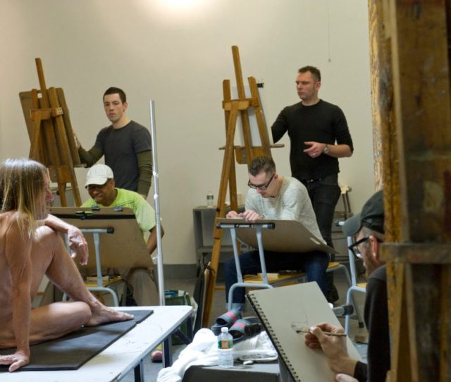 Michael Grimaldi Standing Right Draws Iggy Pop In The Life Class By Jeremy