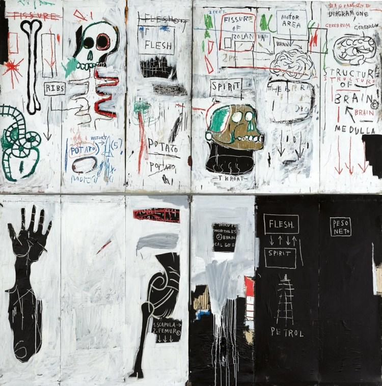 尚·米歇爾·巴斯奎特(Jean-Michel Basquiat)的《肉與靈》(1982-83)。 蘇富比的禮貌。