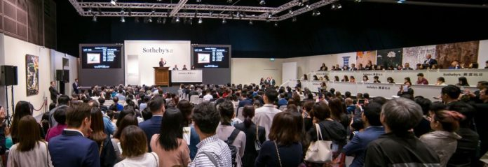 The salesroom at Sotheby's Hong Kong during its slate of spring 2019 auctions. Image courtesy of Sotheby's.