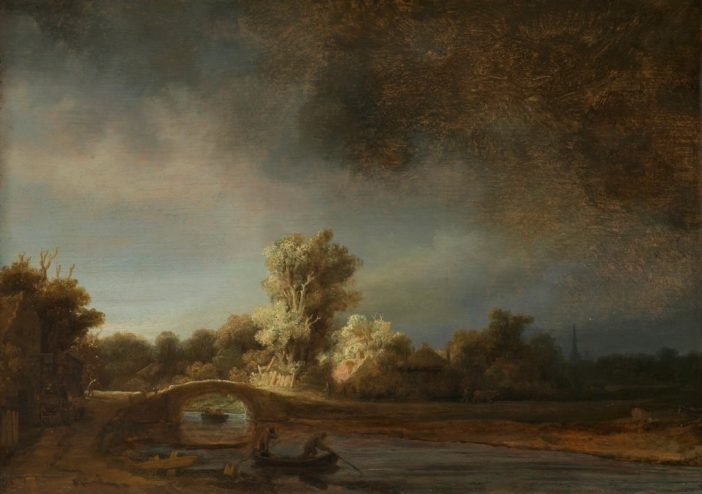 Rembrandt van Rijn, Landscape with a Stone Bridge (ca. 1638). Purchased with the support of the Vereniging Rembrandt and A. Bredius, Amsterdam.