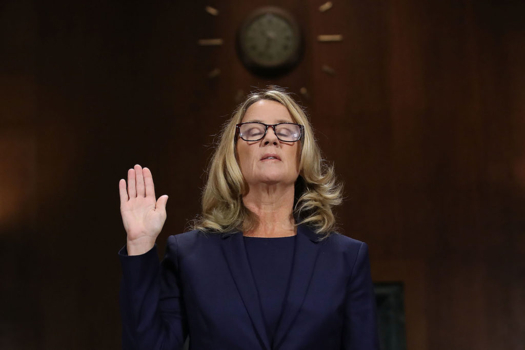 Christine Blasey Ford is sworn in before testifying the Senate Judiciary Committee on Capitol Hill, September 27, 2018 in Washington, DC. Photo by Win McNamee/Getty Images.