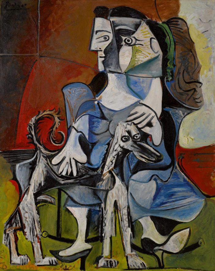 Pablo Picasso, Femme au chien (1962). Courtesy of Sotheby's.