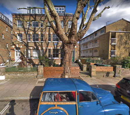 Mondrian worked in a tiny studio in a back garden of a Hampstead house, shown on Google Street View.