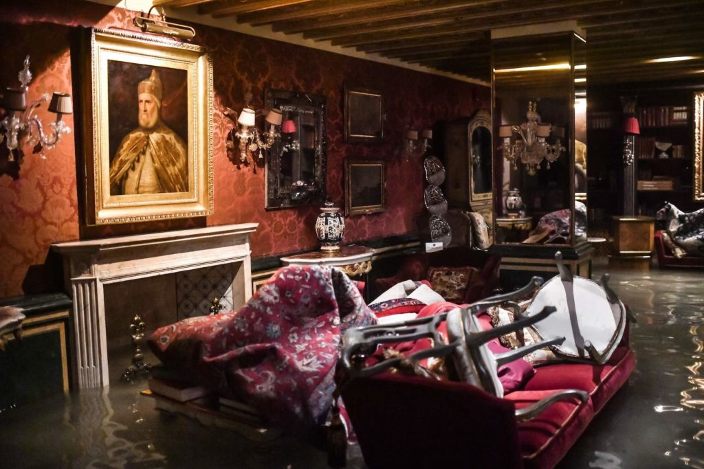 A room in the flooded Gritti Palace during the Venice flooding on November 12. Photo by Marco Bertorello//AFP via Getty Images.