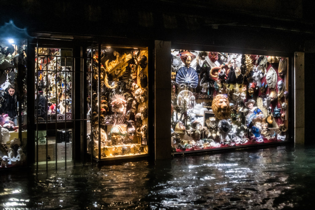 A flooded store during the floods on November 12 in Venice. Photo by Giacomo Cosua/NurPhoto via Getty Images.