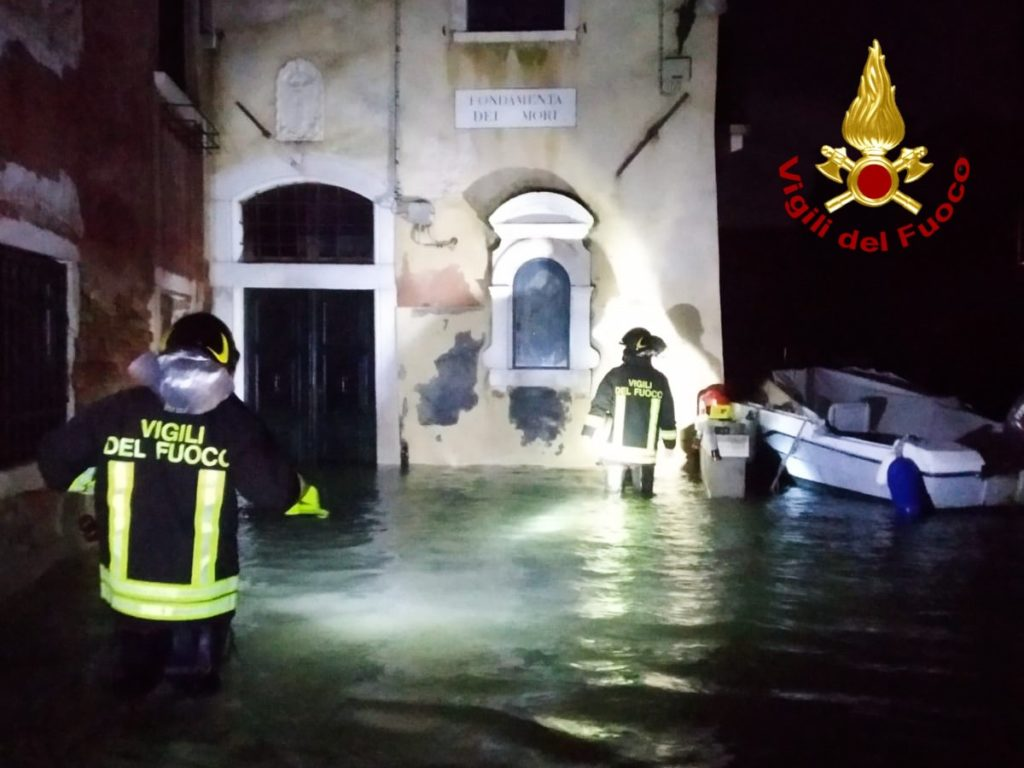 Fire fighters conduct search and rescue operation following the flooding in Venice on November 13, 2019. Photo by Vigili del Fuoco/Italian National Firefighters Corps/Handout/Anadolu Agency via Getty Images.