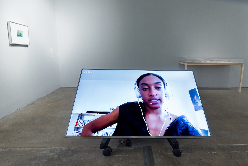 """Aria Dean, <i>Notes on Blaccelerationism</i> (2017). Installation view in """"Colored People Time: Mundane Futures"""" at the Institute of Contemporary Art, University of Pennsylvania. Image courtesy of the artist and Château Shatto, Los Angeles."""