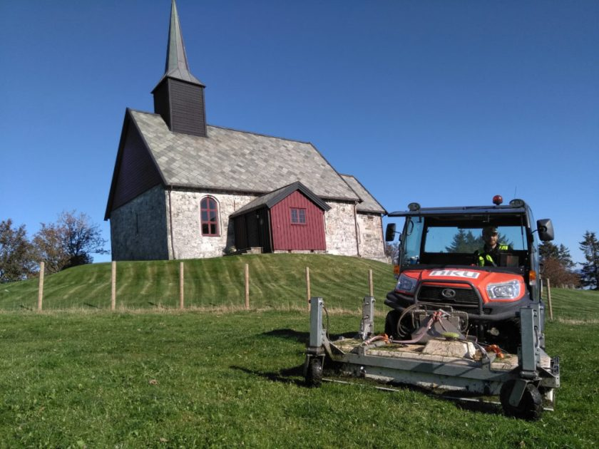 The georadar used in the discovery of the Viking ship is seen in front of Edøy Church, where archaeologists originally looked before finding evidence of the Viking ship in a farmer's field.
